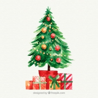 Christmas Presents Under The Tree In Watercolour