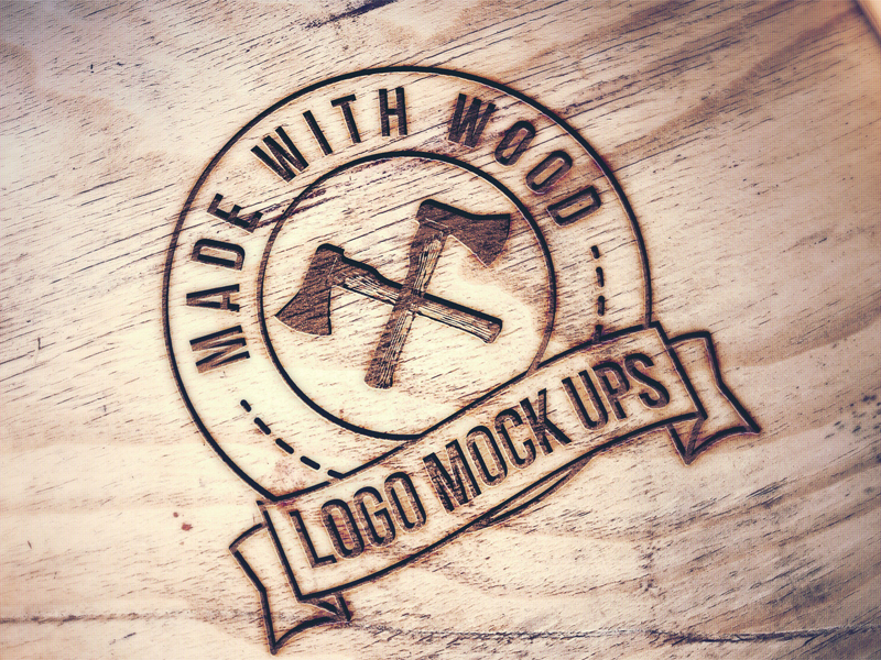 Engraved Wood MockUp PSD