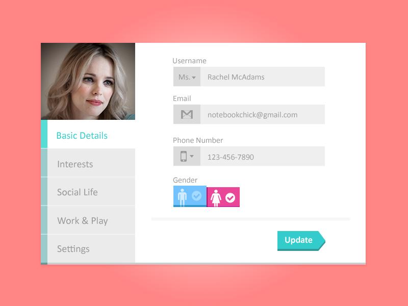 Profile Tabs PSD