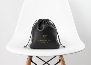 Leather Drawstring Pouch MockUp