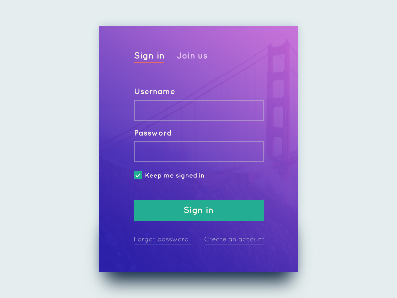 Sign in Form PSD