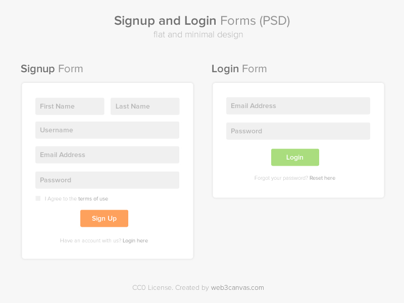 Signup and Login Page PSD