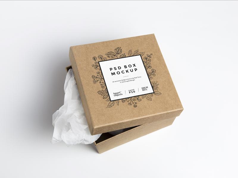 Cardboard Box PSD MockUp