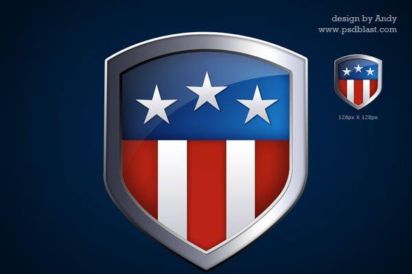American Flag Shield Icon