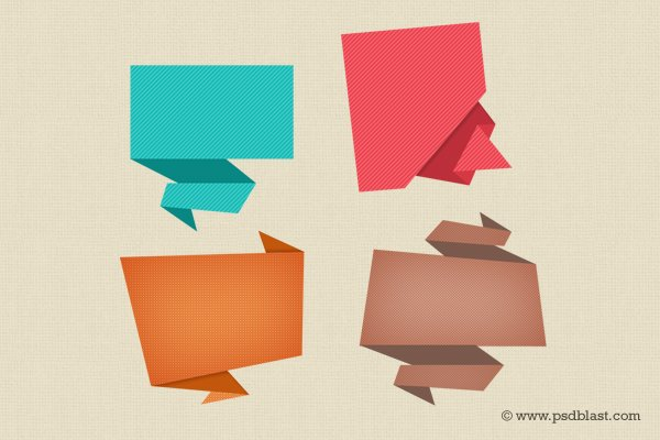 Abstract Origami Speech Bubble Icon
