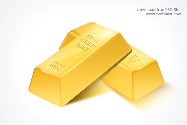 Gold Bar PSD Icon