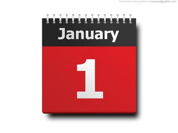 January 1, Calendar Icon