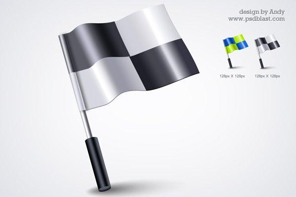 3d Flag Icon PSD