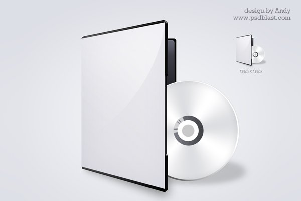 DVD CD Cover Icon PSD