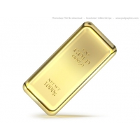 Gold bullion bar PSD icon