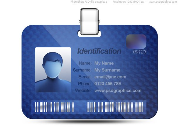 Name Tag Icon, Blue Identification Card