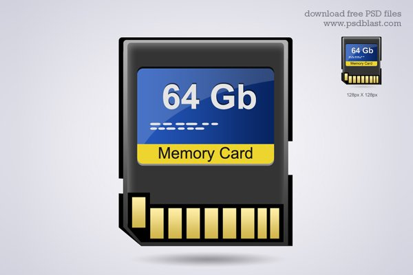 Memory Card Icon, Hardware PSD