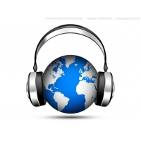 PSD World Music Icon, Globe With Headphones