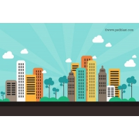 Flat Color Abstract City Background (