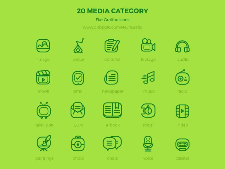 20 MEDIA CATEGORY ICONS