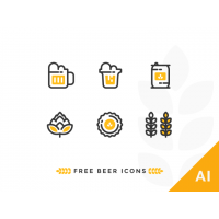 OUTLINE BEER ICONS SET
