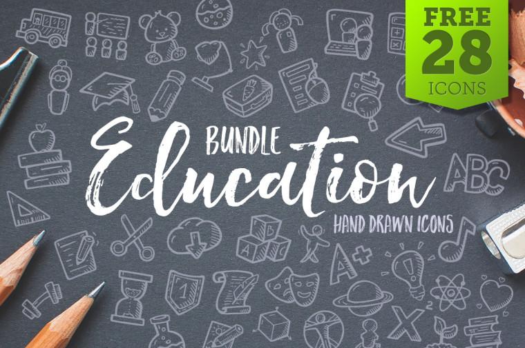 EDUCATION HAND DRAWN ICONS BUNDLE