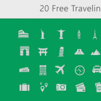 20 FREE TRAVEL ICONS BUNDLE