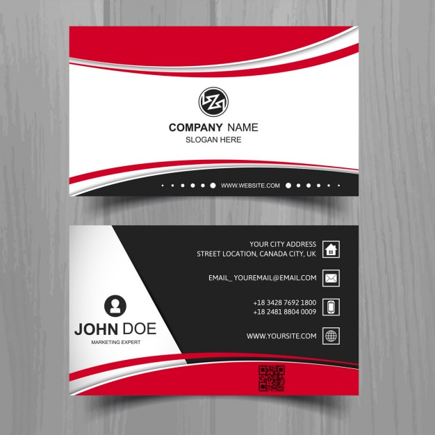 Black Business Card With Red Shapes