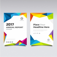 Brochure With Full Color Polygonal Shapes