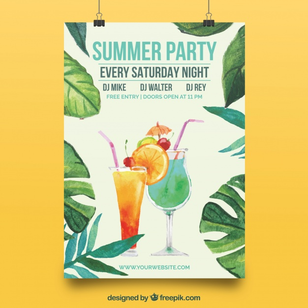 Elegant Poster With Summer Party Watercolor Leaves