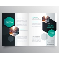 Brochure Template With Hexagonal Shapes