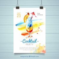 Watercolor Cocktail Party Poster