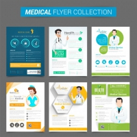 Set of six creative flyers or template design for Health and Medical Concept