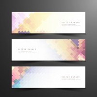 Abstract Colorful Mosaic Banners
