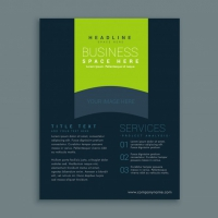 Dark Business Brochure Template With Green Shapes