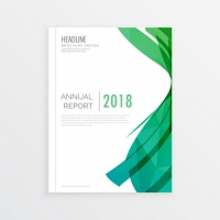 Brochure With Green Geometric Textures