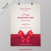 Valentine's Party Poster With Bow