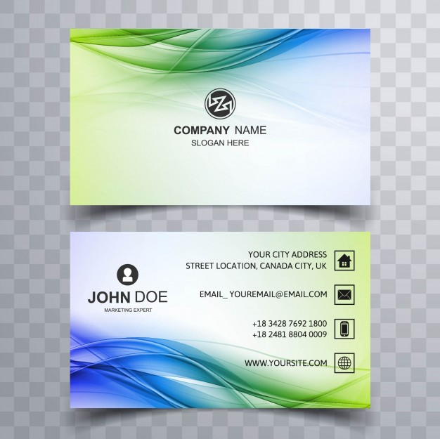 Green And Blue Wavy Business Card