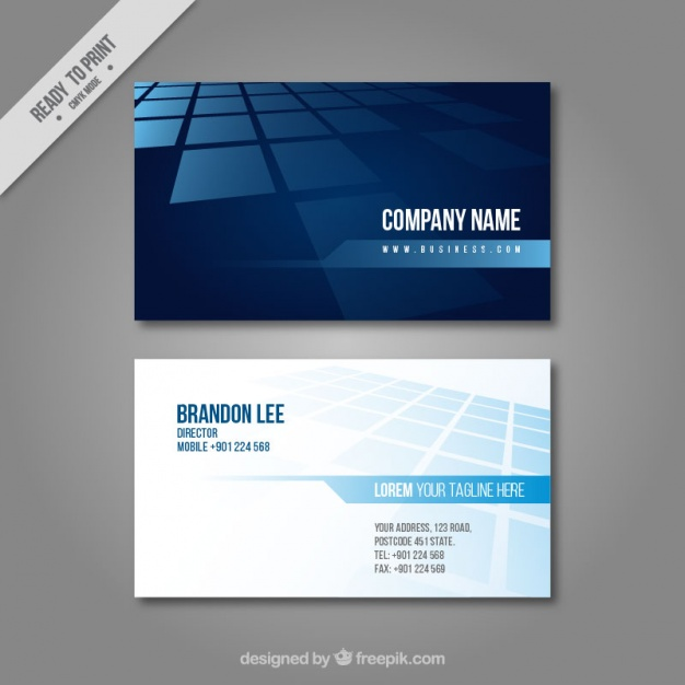 Business Card In Blue Tones