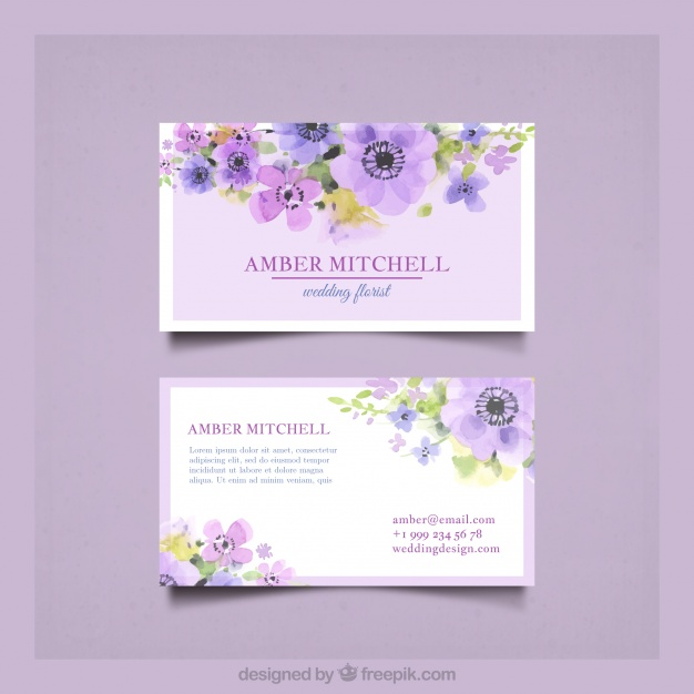 Business Card With Pretty Watercolor Flowers