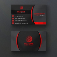 Corporate Red And Black Business Card