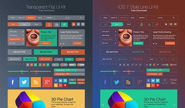 Flat Style & iOS 7 Line Style Flat Style & iOS 7 Line Style UI Kit PSD