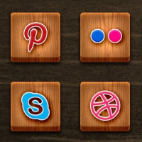 24 Wood Textured Social Media Icons