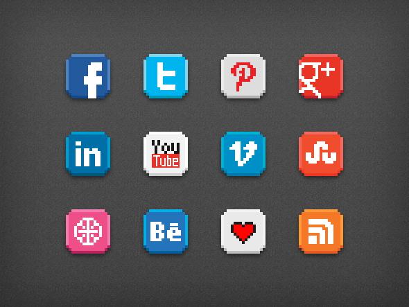 8-bit social icon pack