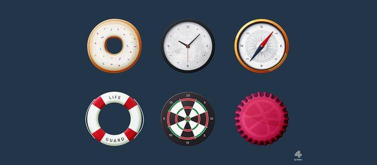 6 Things Round Familiar Icons Set
