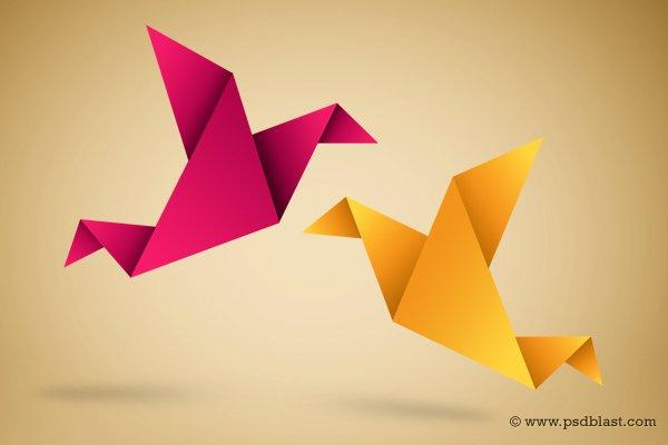 Paper Bird Icon, Origami Symbolic