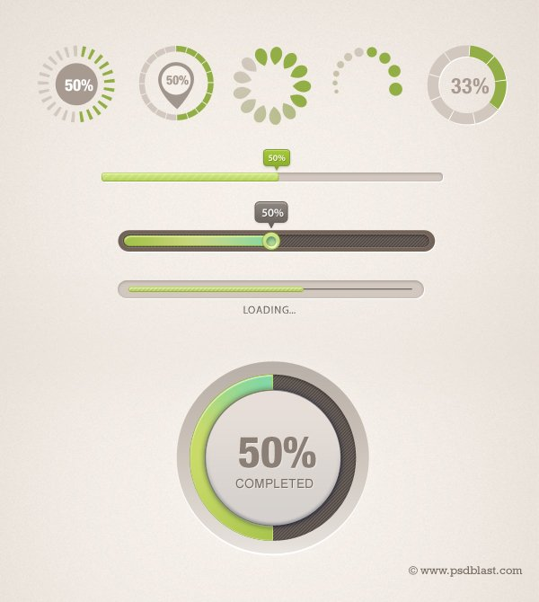 9 Different shaped Progress Bar PSD, Loading icon