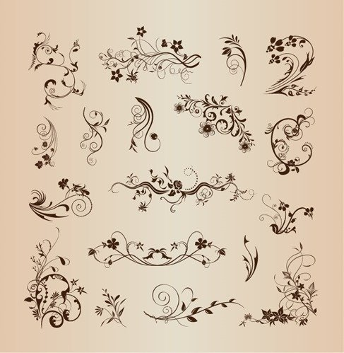 Floral Pattern Elements for Decoration