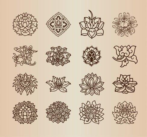 Vintage Flower Pattern Elements Vector Set