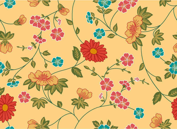 Free Vector Beautiful Flowers Patterns