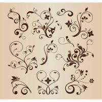 Vector Llustration Set of Swirling Flourishes Decorative Floral Elements