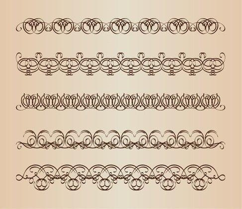 Decorative Calligraphic Borders Vector Set