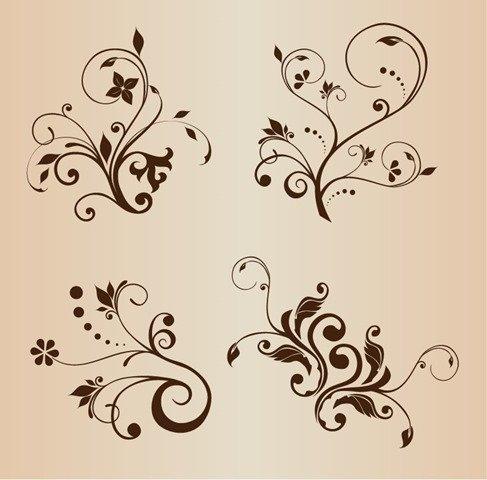 4 Swirly Floral Decorative Elements