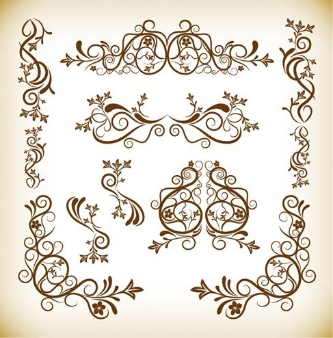 Floral Vintage Elements Vector Graphics Set