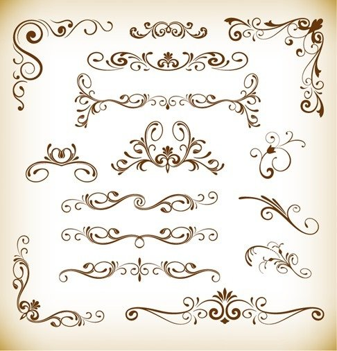 Set of Floral Vector Elements for Design
